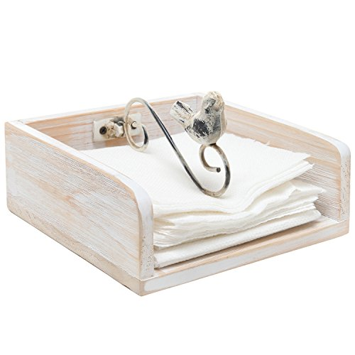 Rustic Shabby Chic White Washed Wood Napkin Holder Rack w/ Metal Bird & Scroll Work Design Weighted Arm – MyGift