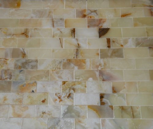 2×4 Rustic White Onyx Polished Mosaic Tiles on the Mesh Sheet