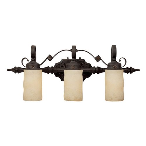 Capital Lighting 1903RI-125 Vanity with Rust Scavo Glass Shades, Rustic Iron Finish