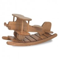 FireSkape Unique Amish Crafted Solid Oak Natural Finished Airplane Rocker Heirloom Toy