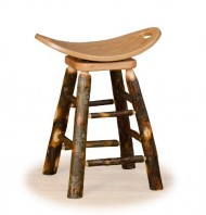 Hickory Log Swivel Saddle Stool – Bar Height -OAK SEAT- Amish Made
