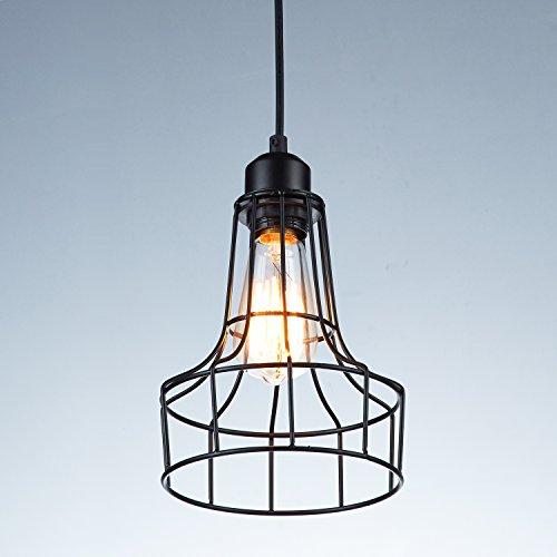 YOBO Lighting Vintage Black Wire Cage Hanging Pendant Lighting