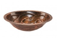 Premier Copper Products LO19FBDDB Oval Braid Under Mount Hammered Copper Sink, Oil Rubbed Bronze