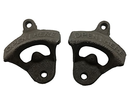 2 PACK of Okallo Products Cast Iron Wall Mount Bottle Opener – Rustic Look for Man Cave (2)
