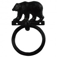 Black Metal Wall Mount Bear Kitchen/Bath Towel Ring Hanger Holder Rustic Decor