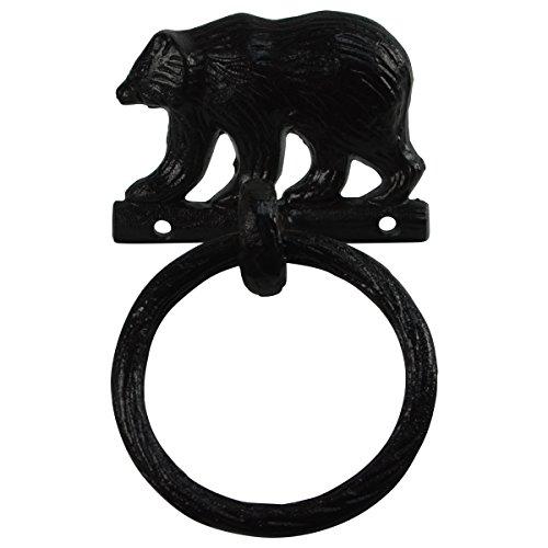 Black Metal Wall Mount Bear Kitchen/Bath Towel Ring Hanger Holder Rustic Decor