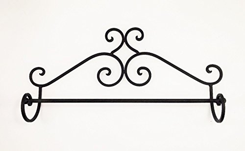 """""""ABC Products"""" – Wrought Iron Towel Rack – Elegant Scroll Work – Victorian Style Wall Hung (Dark Bronze Rustic Finish – Primitive Look)"""