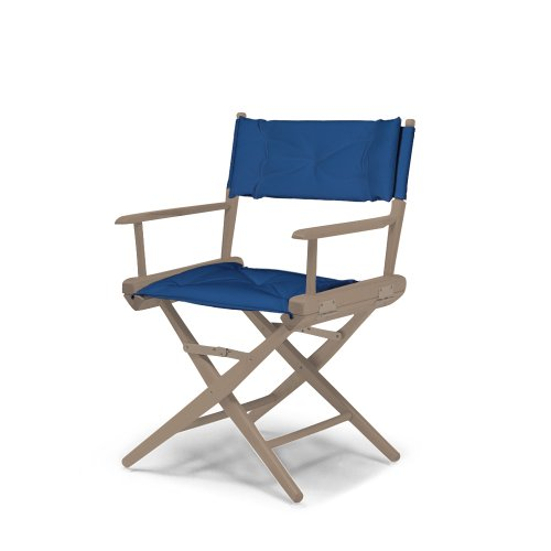 Telescope Casual World Famous Dining Height Director Chair, Rustic Grey Finish with Blue Cover