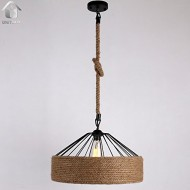 UNITARY BRAND Cream Rustic Braided Hemp Rope Hanging Ceiling Chandelier Max. 40W With 1 Light