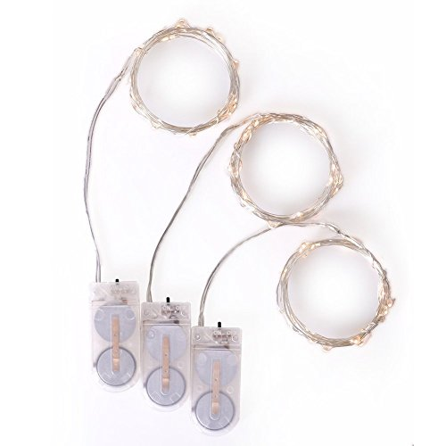 Ling's moment 20 LEDS 6Ft Fairy Lights – Ultra Thin Wire – Button Battery Powered, Pack of 3
