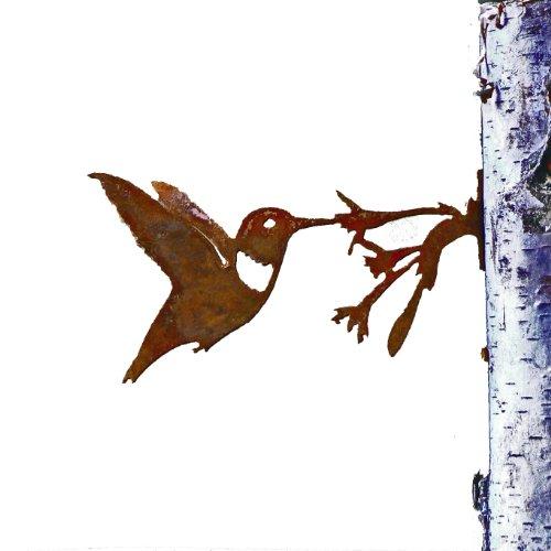 Elegant Garden Design Hummingbird with Flower, Steel Silhouette with Rusty Patina