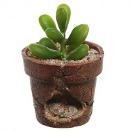 Rustic Style Brown Mouse Burrow Design Small Handmade Resin Flower Pot / Novelty Succulent Planter