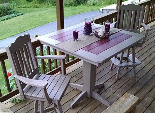 Poly Lumber Wood Patio Set- 44″ Square Bar Table and 4 Royal Swivel Bar Chairs- Amish Made