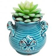 Small Blue Rustic French Fleur-de-Lis Design Ceramic Plant Flower Planter Pot / Desktop Pencil Holder