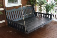 Outdoor 6′ Royal English Garden Swing Bed – Oversized Porch Swing – PAINTED- Amish Made USA -White