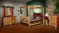 Red Cedar Log QUEEN SIZE 5 pc Bedroom Furniture Set – Amish Made in USA