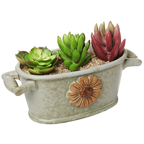 Country Rustic Green Ceramic Bucket Trough Style Flower Design Succulent Planter / Flower Pot – MyGift®