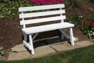 Outdoor 3 Foot Pine Picnic Table BACKED BENCH ONLY – PAINTED- Amish Made USA -Black