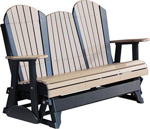 Outdoor Polywood 5 Foot Porch Glider – Adirondack Design *WEATHERWOOD/BLACK* Color