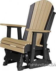 Outdoor Polywood 2 Foot Porch Glider – Adirondack Design *WEATHERWOOD/BLACK* Color
