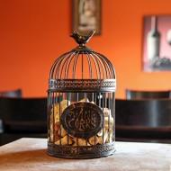Home-X Keepsake Wine Cork Holder. Rustic Metal Birdcage 12″