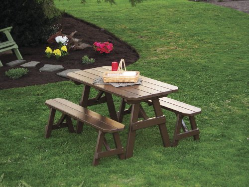 Outdoor 6 Foot Pine Picnic Table with 2 Benches Detached – PAINTED- Amish Made USA -Coffee