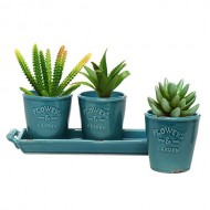 MyGift® Set of 3 Country Rustic Turquoise Ceramic Succulent Planters / Flower Pots & Handled Display Tray