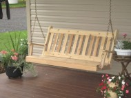 Outdoor 4 Foot Traditional English Porch Swing – STAINED- Amish Made USA -Natural