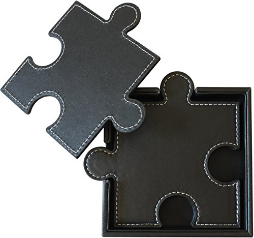 Drink Coasters (Set of 6), Puzzle Leather Coasters, Unique