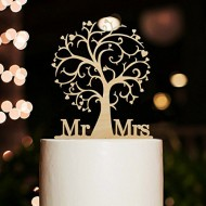 Mr and Mrs Cake Topper Wood Cherry Blossom Tree Rustic Wedding Cake Topper