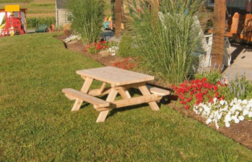 Kids Children's Cedar Picnic Table – Amish Made USA – Stained – Oak