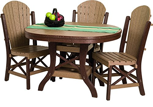 Poly Lumber Patio Furniture Set Including 1 Oval Table (48″) and 4 Side Chairs in Weathered Wood & Green – Amish Made in USA
