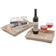 MyGift® Set of 2 Beige Rustic Style Wood Nesting Breakfast & Coffee Table Butler Serving Trays w/ Handles