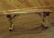 Red Cedar Log Dining/Hall Bench – 3 Foot Long – Amish Made in USA