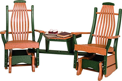 Poly Lumber Bentwood Style Settee in Duo-Tone Weathered Wood & Patriot Blue – Amish Made in USA
