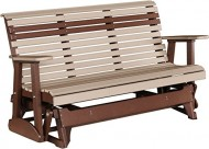 Outdoor Polywood 5 Foot Porch Glider – Plain Rollback Design *WEATHERWOOD/CHESTNUT BROWN* Color