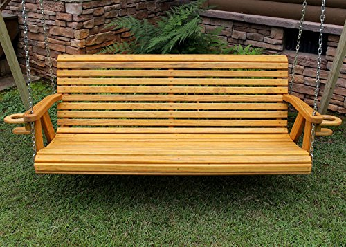ROLL BACK Amish Heavy Duty 800 Lb 4ft. Porch Swing With Cupholders – Cedar Stain – Made in USA