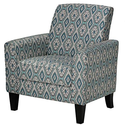 Cortesi Home Tali Blue Diamond Arm Accent Chair