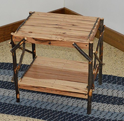 Rustic Hickory 2-Tier End Table *ALL HICKORY* Amish Made USA