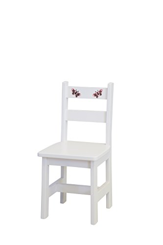 Amish-Made, Handcrafted Children's Wooden Chair (White With Stencil)