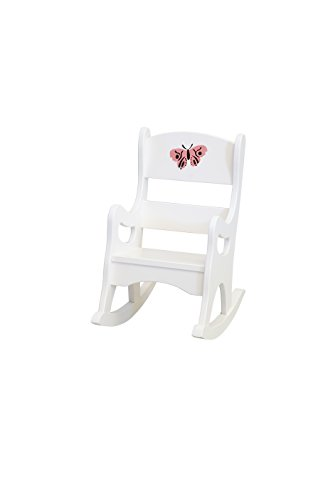 Amish-Made, Handcrafted Children's Wooden Rocking Chair (White With Stencil)