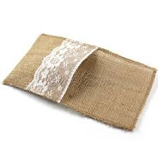Burlap Silverware Holder – Rustic Place Cards – Burlap Silverware Cutlery Pouch Sleeve – Wedding Rustic Menu – Wedding Table Setting Decor 4in x 8in (Set of 20)