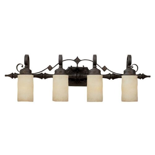 Capital Lighting 1904RI-125 Vanity with Rust Scavo Glass Shades, Rustic Iron Finish