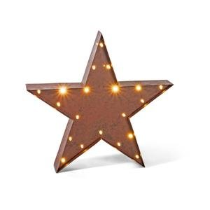 12″ – Rustic Brown – Metal – Battery Operated – LED – Lighted Star | Gerson Wall Decor (92918)