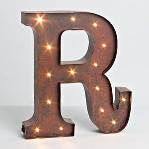"12″ – Rustic Brown – Metal – Battery Operated – LED – Lighted Letter ""R"" 