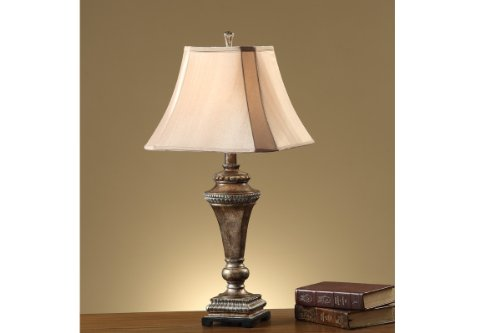 Set of 2 Table Lamps In Bronze Rustic Finish, Bell-Shape Shade