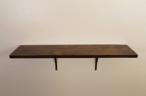 Style 3: Rustic, Wood Shelf, Pine, 36″ x 10″ x 1″, with Brackets, Dishes, Books