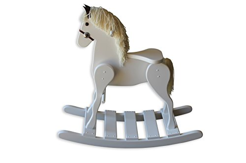 FireSkape Medium Deluxe Amish Crafted Solid Maple White Finished Rocking Horse with White Mane