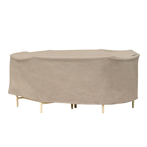 Budge English Garden Oval Patio Table and Chairs Combo Cover P5A17PM1, Tan Tweed (30 H x 136 L x 90 W)