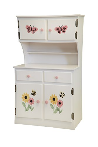 Amish-Made, Handcrafted Children's Wooden Hutch (White Painted Finish – Does Not Have Stencil Shown)